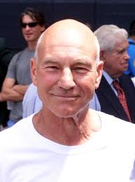 Sir Patrick Stewart at a soccer game--public domain